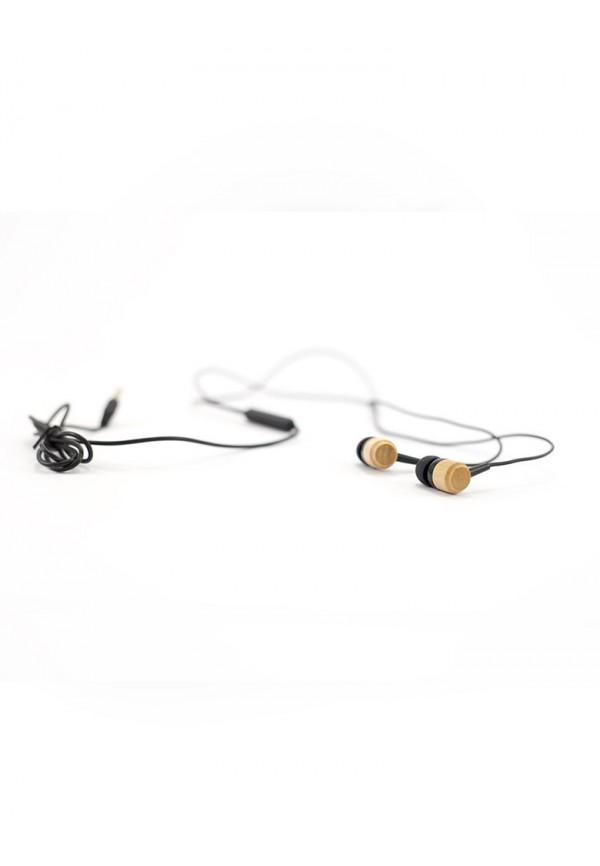 Slušalke iz bambusa z mikrofonam - Uheki Z Majkom